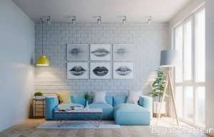 آبی پاستیلی در اتاق پذیرایی