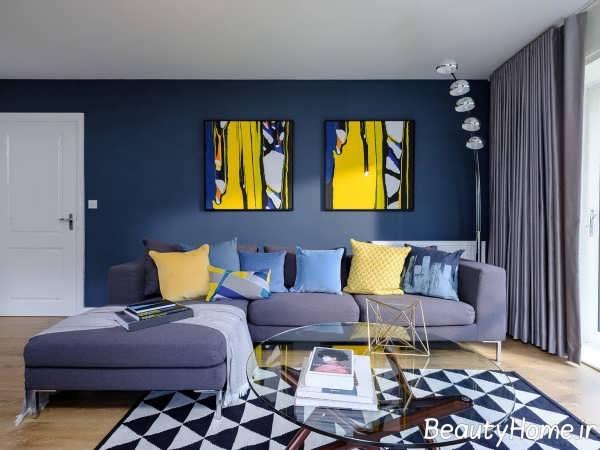 دکوراسیون ترکیبی زرد- آبی در اتاق پذیرایی