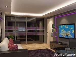 طراحی شیک کمد دیواری اتاق پذیرایی