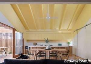 رنگ آمیزی شیک سقف با تم طلایی