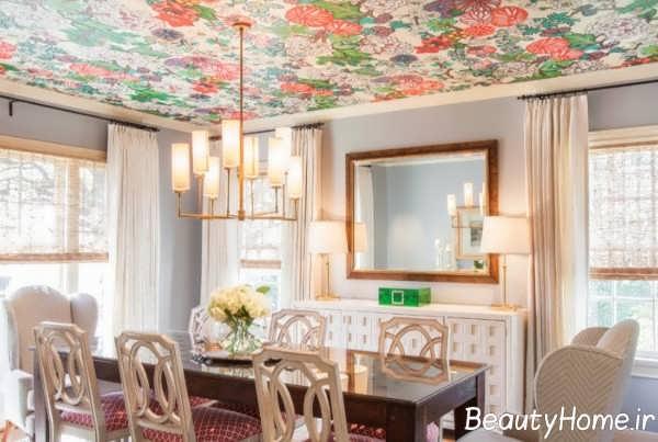 رنگ آمیزی زیبای سقف اتاق پذیرایی