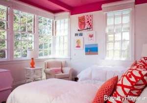رنگ امیزی ایده آل سقف با تم صورتی