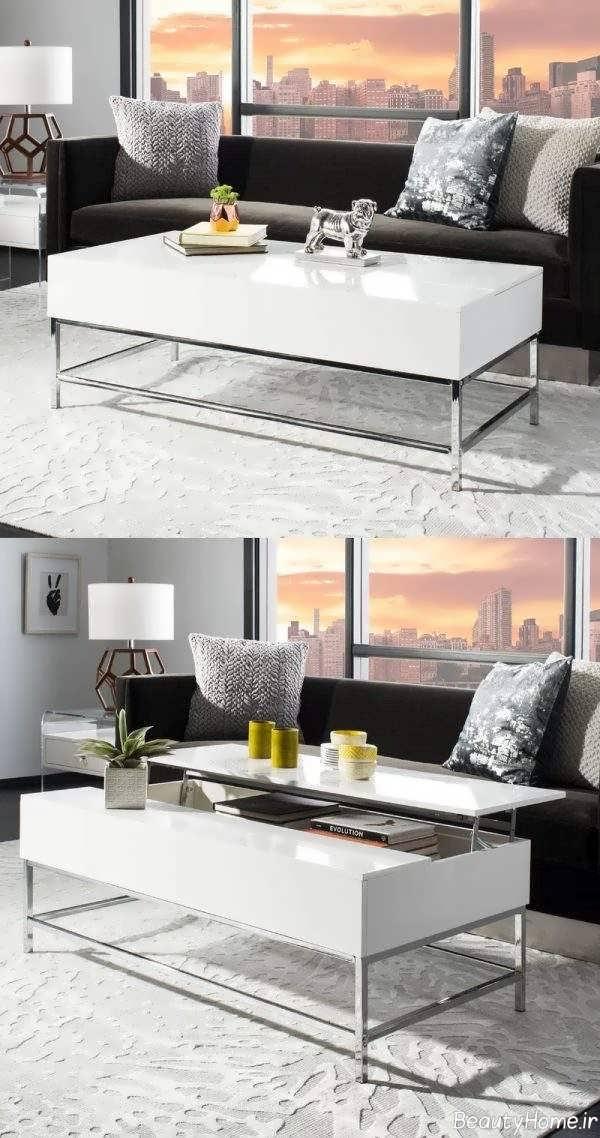 مدل میز سفید جلو مبلی کاربردی