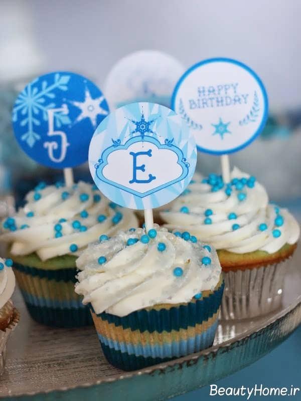 تزیین کاپ کیک با تم تولد