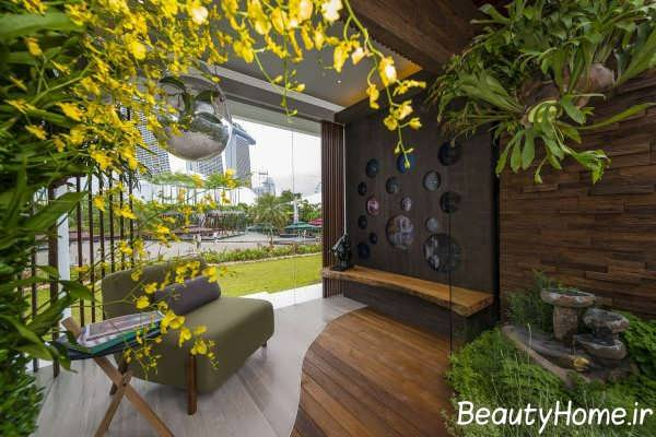 فضای سبز زیبا و جذاب در بالکن