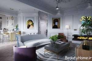 چیدمان زیبای اتاق پذیرایی