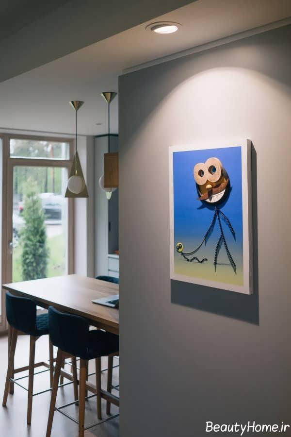 دیزاین لاکچری منزل با تم ترکیبی زرد و آبی