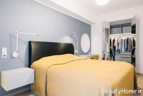طراحی شیک اتاق خواب با تم زرد