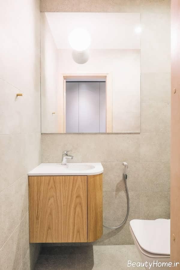 طراحی شیک حمام با تم زرد