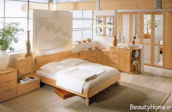 دکوراسیون اتاق خواب شیک چوبی