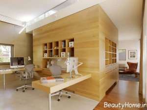 طراحی اتاق کار با بافت چوب
