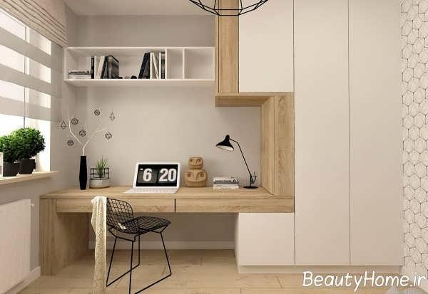 اتاق کار با بافت چوبی