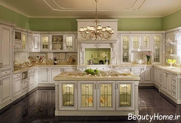 طراحی سنتی آشپزخانه طرح جزیره