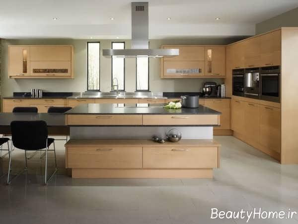 طراحی شیک آشپزخانه طرح جزیره