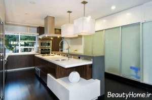 طراحی لاکچری آشپزخانه طرح جزیره