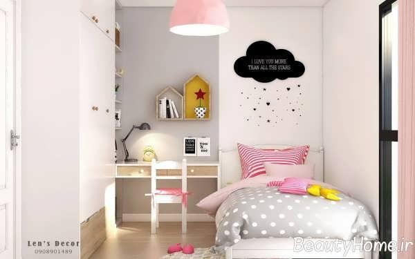 دیزاین شیک اتاق کودک با تم پاستیلی