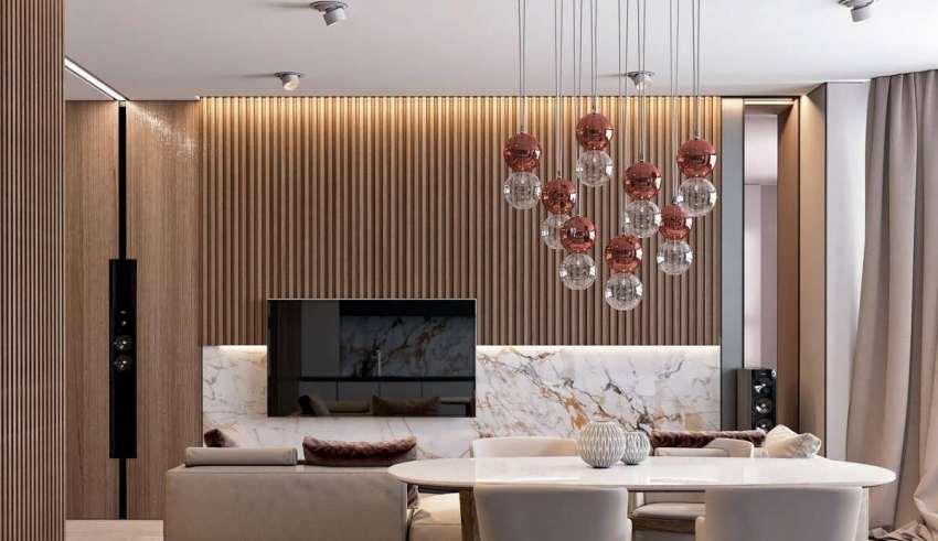 طراحی داخلی منزل با سنگ مرمر و چوب