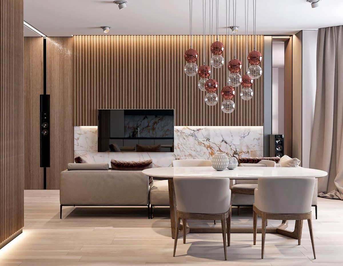 طراحی داخلی با استفاده از ترکیبی از سنگ مرمر و چوب
