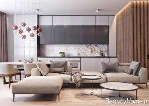 دکوراسیون سنگ مرمر و چوب در محیط داخلی منزل