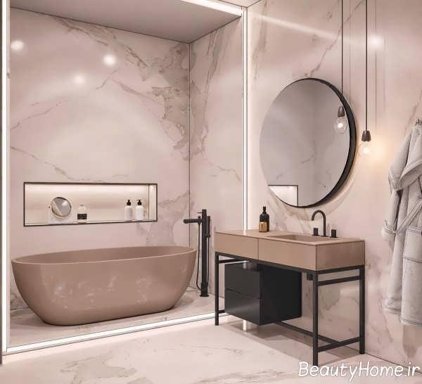 طراحی لاکچری حمام با سنگ مرمر و چوب