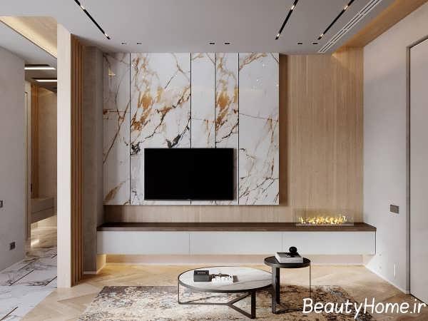 ترکیب زیبای سنگ مرمر در اتاق نشیمن