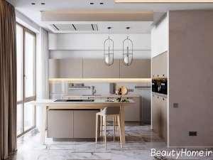 طراحی داخلی مدرن آشپزخانه با سنگ مرمر