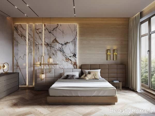 طراحی شیک اتاق خواب با سنگ مرمر و چوب