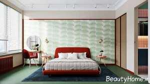 تم آبی، سبز و قرمز در دکوراسیون اتاق خواب