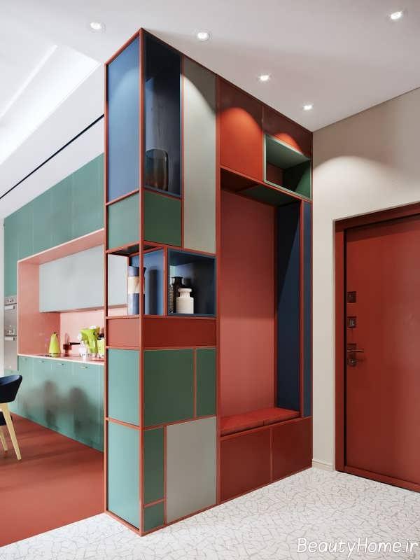 ترکیب رنگی هنرمندانه در اتاق پذیرایی