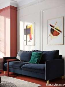 ترکیب عالی و متفاوت رنگی در اتاق پذیرایی