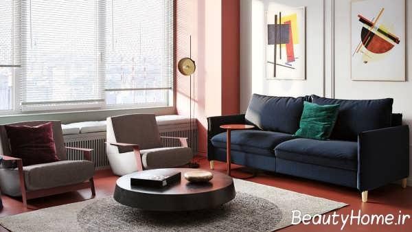 استفاده از رنگ آبی، سبز و قرمز در اتاق پذیرایی