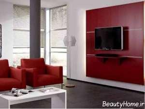 رنگ دیوار پشت تلویزیون با تم قرمز