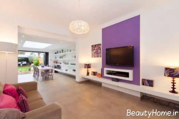 انتخاب رنگ بنفش برای دیوار تلویزیون