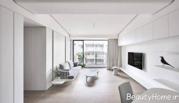 دیزاین سفید اتاق پذیرایی