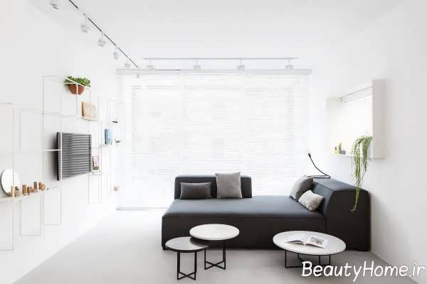 طراحی اتاق نشیمن سفید