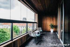 دکور جذاب چوب در تراس منزل