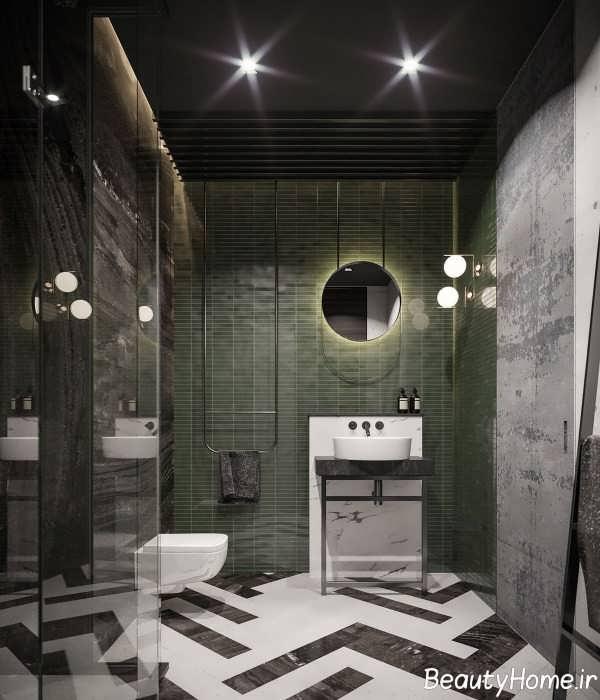 دیزاین زیبای حمام با تم تیره