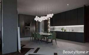 دیزاین زیبای منزل با تم تیره