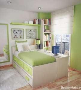 دکوراسیون سبز اتاق خواب دخترانه