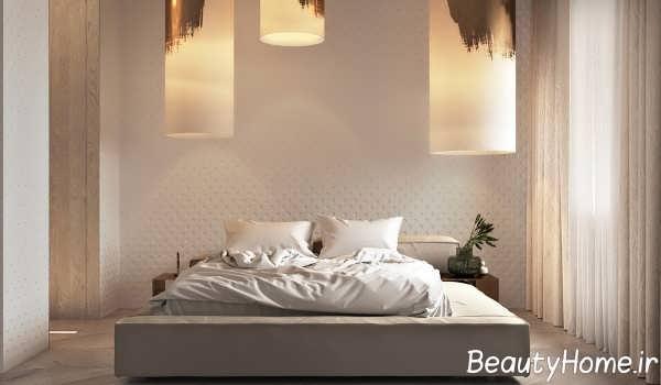طراحی زیبای اتاق خواب با تم طلایی