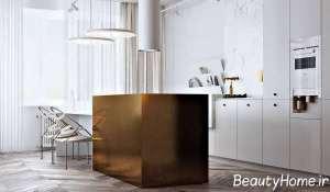 طراحی زیبای آشپزخانه با رنگ طلایی