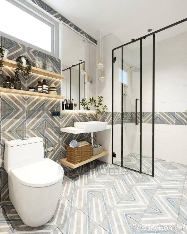 طراحی فوق االعاده حمام با تم سفید و خاکستری