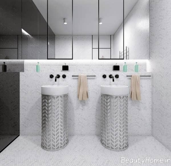 دکوراسیون زیبای حمام با تم سفید و خاکستری