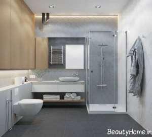 حمام شیک با تم خاکستری