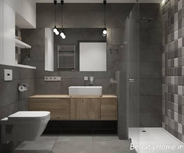حمام زیبا با تم خاکستری