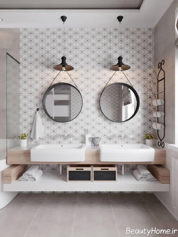 حمام ایده آل با تم سفید و خاکستری