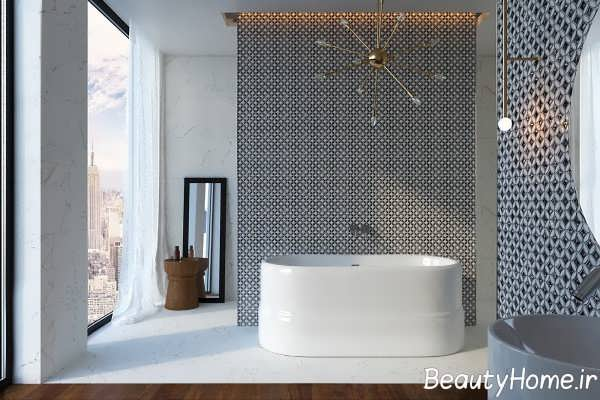 تم سفید و خاکستری در حمام مدرن