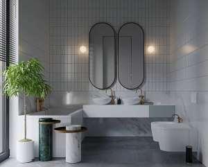 طراحی حمام با تم خاکستری و سفید