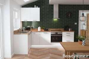 آشپزخانه با تم سبز تیره