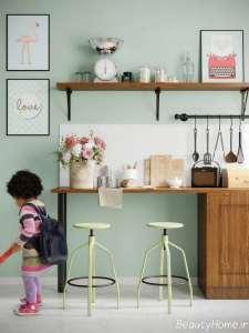 دکوراسیون فوق العاده آشپزخانه با تم سبز